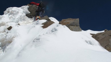 Stefan scrambling on the ridge close to the summit