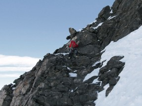 First climbing section after the initial snow couloir