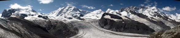"Panoramic view from ""Gornergrat"": Monte Rosa, Liskamm, Castor, Pollux, Breithorn"