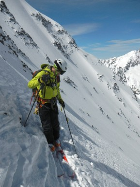After the intitial steep section we check the conditions further down