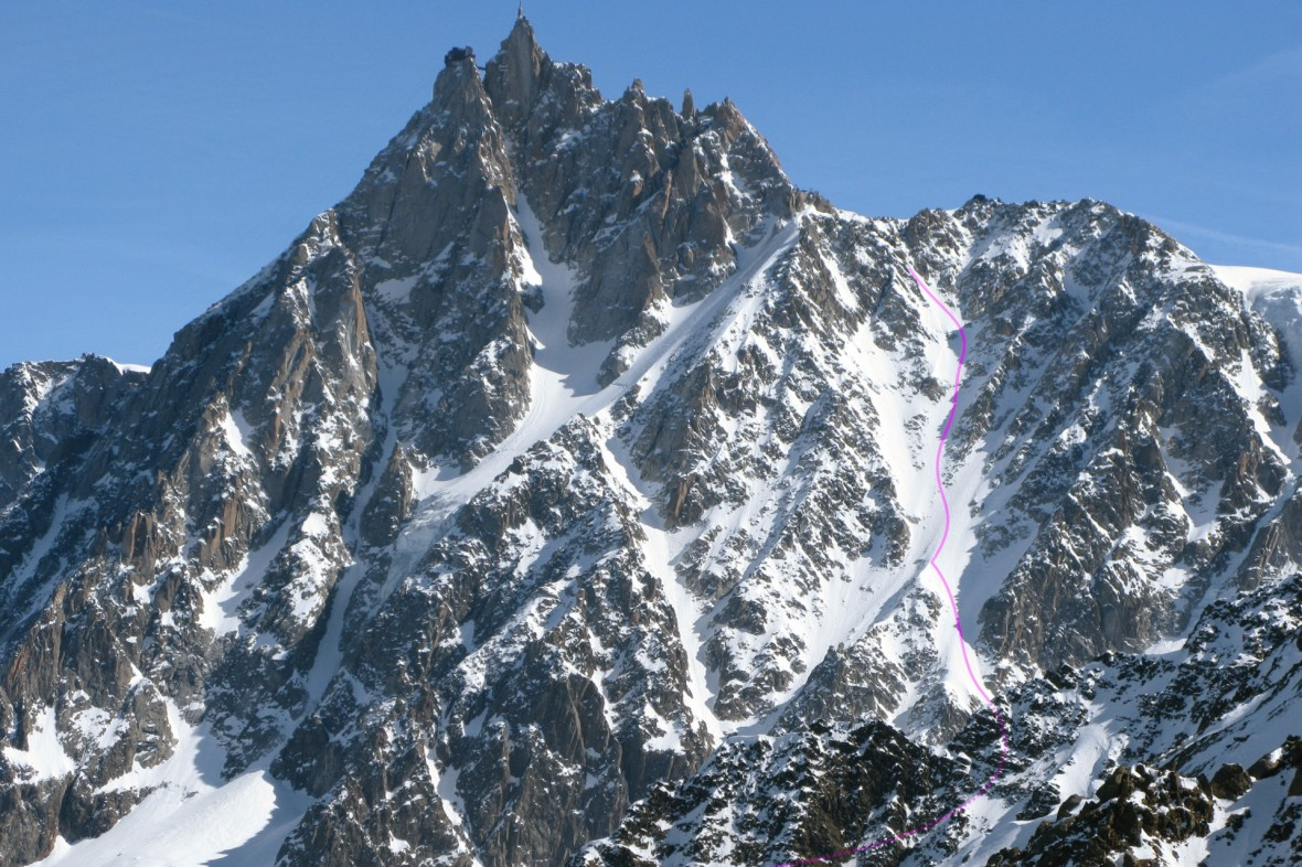 Aiguille du Midi west face with the ski line marked. Photo by Cedric Bernardini